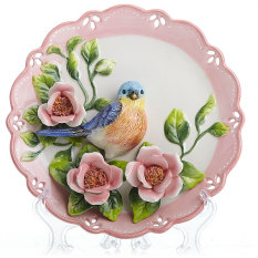 Neo-Classical Ceramic Plate Garden Decorations Mural Decoration Wall Decorations Asian Creative Luxury Art Works Decorative Plates Decoration Crafts Ceramic Blue Magpie