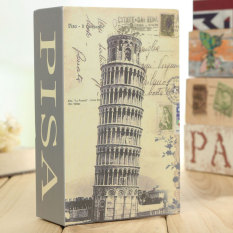 NEW Dictionary Book Secret Safe Security Key Lock Money Cash Jewellery Box Leaning Tower of Pisa - Intl