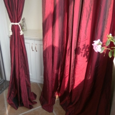 Low Cost Wine Red Color Living Room Bedroom Marriage Room Curtain Finished Curtain