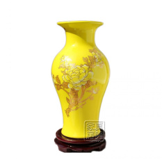Sale Rich Yellow New Jingdezhentaoci Peony Fishtail Bottle Oem