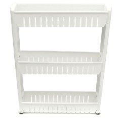 New Moving Rack Kitchen Storage Shelf Wall Cabinets Bedroom Bathroom Organizer White - intl