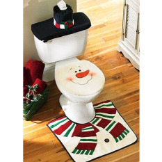 New Style The Santa Claus Decors Toilet Seat Cover Ground Mat Rug Handkerchief Case Bathroom Set Christmas Decoration
