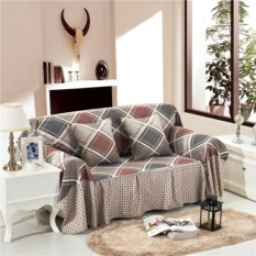 Nice Checked Linen Blend Slipcover Sofa Cover Pet Protector for 1 2 3 4 seater L - intl