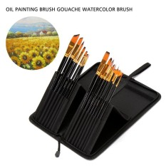 Niceeshop 15 Pcs Brush Set For Watercolor, Acrylic, Oil Face Painting Long Handle Artist Painting Pen With Holder By Nicee Shop.