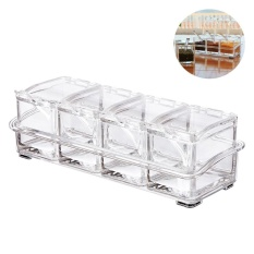 Niceeshop Clear Seasoning Box 4 Piece Separable Acrylic Spice Rack Salt Sugar Pepper Container Spice Jar Set Condiment Cruet With Cover And Spoon Intl Deal