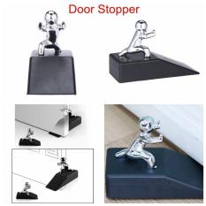 niceEshop Decorative Door Stopper,Premium Non-Skid Rubber Door Stops,Silver+Black - intl