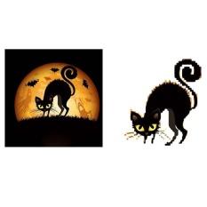 niceEshop DIY Halloween Diamond Rhinestone Pasted Embroidery Painting, Halloween House Decor (Black Cat)