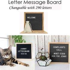 niceEshop Gray Felt Letter Board .Changeable Letter Boards Include 290 White Plastic Letters Oak Frame.