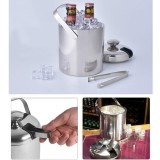 Buy Niceeshop Ice Bucket Insulated Stainless Steel Double Walled Ice Bucket With Lid Stainless Steel Ice Tongs 2 8L Silver Intl Online China