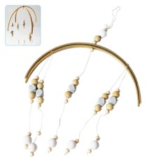 niceEshop Nordic Style Wooden Beads Aeolian Bells Pendant Wind Chime Kids Room Decor Wall Hanging Photography Room Ornaments