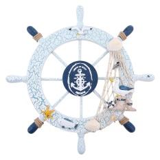 niceEshop Ornamental Home Nautical Wall Marine Decor Wood Pirate Ship Helm Wheel, Blue+White