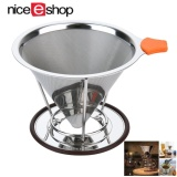 Sale Niceeshop Pour Over Coffee Filter Stainless Steel Cone Coffee Dripper Reusable Double Mesh Pour Over Coffee Maker With Separate Stand For 1 4 Cups Intl
