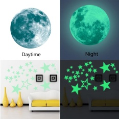 niceEshop Removable 30cm Moon Stars Glow In The Dark Sticker, Night Luminous Kids Room Wall Decal Stickers For Simulated Ideal Kids Decor Or Adults, Perfect Gift Kids Boys Girls, Green