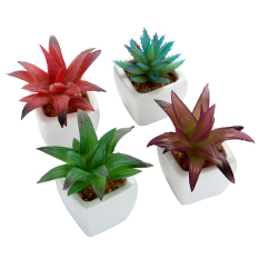 Review Niceeshop Set Of 4 Modern White Ceramic Mini Aloe Potted Artificial Succulent Plants On China