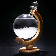 niceEshop Storm Glass Globe Crystal Storm Weather Glass Forecaster Barometer With Original Wood Base - intl