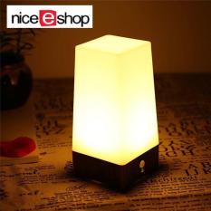 niceEshop Wireless Motion Sensor LED Table Lamp, Battery Powered Indoor Retro Night Light Warm White For Kids Room, Bedroom, Bedside, Bathroom, Hallway(Square)