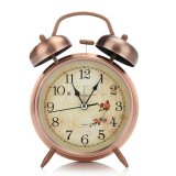 Price Compare Night Light Classic Silent Metal Double Bell Alarm Clock Movement Kids Bedside Copper Intl