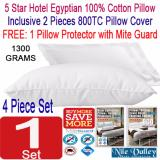 Buy Nile Valley S 5 Star Hotel Egyptian 100 Cotton Pillow 1300G 2 Pillow Covers 1 Free Pillow Protector Bundle Discount Online Singapore