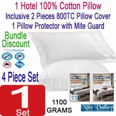 Buy Nile Valley S Hotel 100 Cotton Pillow 2 Pillow Covers 1 Protector Bundle Discount Nile Valley