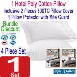 Sale Nile Valley S Hotel Poly Cotton Pillow 2 Pillow Covers 1 Protector Bundle Discount