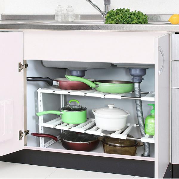 Japan NISHIKI Retractable Cabinet Shelves Shelf Draining Shelf Pot Rack Dish Rack Storage Rack