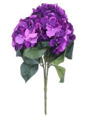 noion Artificial Hydrangea Flower 5 Big Heads Bounquet Home Party Wedding Decor(Purple)