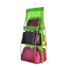 noion Durability 6 Pockets Handbag Storage Bag Pouches Large Clear Purse Hanging Organizer Closet - intl