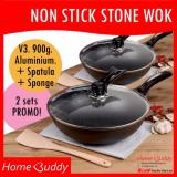 Non Stick Stone Wok Bundle Of 2 Sets ★ Version3 900Gram Aluminium ★ Wok 30Cm Self Stand Glass Lid Wooden Spatula Sponge ■ 2000 Sold ■ Stocks In Singapore ■ For Sale Online