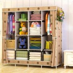 Non-woven Foldable Wardrobe Closet Durable Cabinets Folding Reinforcement Clothes Racks Organizer 170x167x39cm - intl