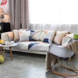 Nordic Geometric Cotton Cloth Sofa Cushion Minimalist Modern Four Seasons Universal Full Cover Back Cotton Sofa Towel Sets Cover Price