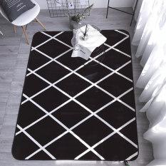 Sale Northern European Style Flock White Striped Grey Non Slip Mat Online China