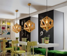 The Cheapest Nordic Mordern Wooden Diamond Ball E27 110 220V 40 45Cm Wood Pendant Lights Droplight Hanging Lamp For Home Cafe Bar Reasterant Intl Online