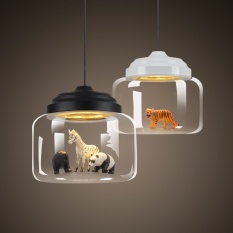 Nordic Style Ceiling Light Bedroom Bar Restaurant Coffee Shop Glass Chandelier Creative Animals Pendent Light Childrens Room Chandelier Random Animals - intl