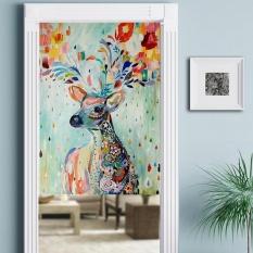 Nordic Style Cotton Linen Door Curtain Bedroom Curtains Cartoon Versatile Hanging Room Dividers for Home Decorations 85*120cm - intl