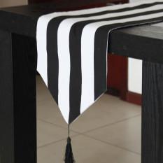 Discount Northern European Style Simple Black White Wave Pattern Table Runner Oem