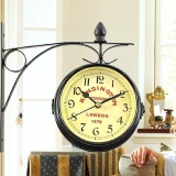 Review Nostalgic Double Side Clock Antique Vintage Round Wall Hanging Two Faces Clock Intl Dometopia On Singapore