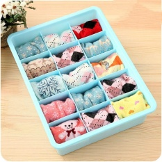 Ocean Clothes Organizers Plastic Underwear Lattice Storage box Underpants Socks tidy Storage Sorting box(Blue 15) - intl