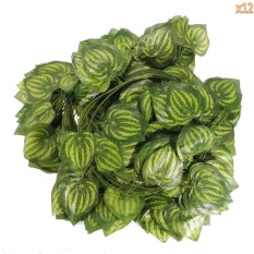opoopv 12 Pcs Artificial Silk Grape Leaves Ivy Home Garden Wall Wedding Decoration(Green) - intl