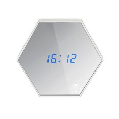 opoopv Digital Alarm Clock With Flat Mirror And Touch Dimmable Night Light Modes,Time/Alarm/Temperature Display - intl