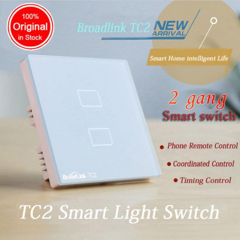 Original Broadlink TC2 2-Gang Smart Home Automation Mobile Wireless Remote Control Light Switch Touch Panel UK Plug - intl
