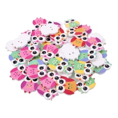 Oscar Store 50Pcs/Pack Owl Wooden Button Sewing Cartoon Children Baby Scrapbook Knitting - intl