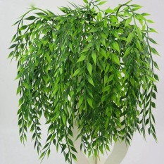 Oscar Store Artificial Fake Green Persian Leaves Rattan Simulation Plant Home Decor - intl