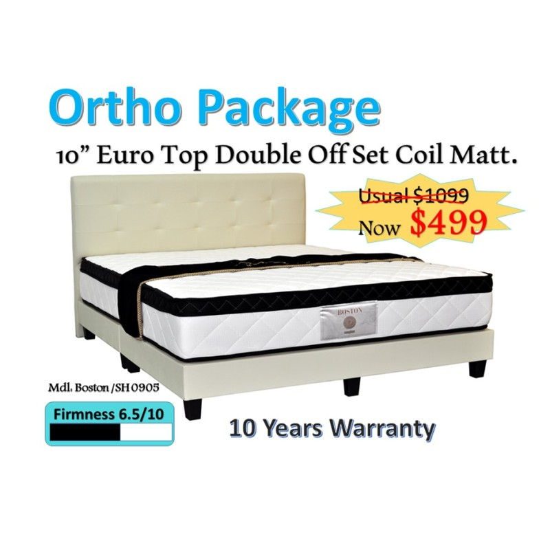 Otho Package: 10 Euro Top Double Offset Coil Mattress + Bed Frame (Cream)