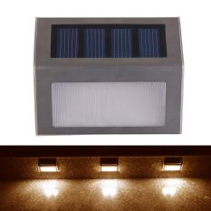 Review Outdoor Solar Power 2Led Bright Light Garden Pathway Stairs Lamp Warm White Oem On China