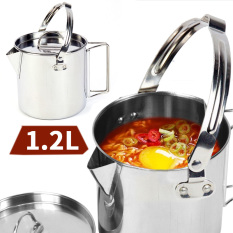 Buy Outdoor Stainless Steel Kettle 1 2L Mountaineering Camping Teapot Portable Hanging Pot Cookware Coffee Pot Picnic Pot On China