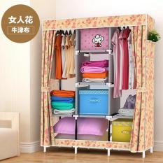 Oxford Foldable Wardrobes Clothes Cabinets Assembly Reinforcement Clothes Racks Storage Closet Organizer 128x45x170cm - intl