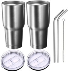 Price Pack Of 2 Insulated Tumbler Travel Mug Double Wall Vacuum Stainless Steel Cup Bundle With 2 Lid 2 Curved Straws Cleaning Brush 24 Hours Ice Retention 6 Hours Hot Retention 30 Oz Intl Oem Original