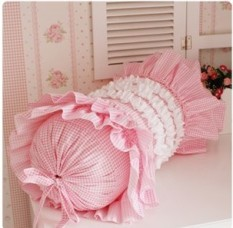 Pastoral Style Korean Style 58 Supporting Cute Pink Small Plaid Candy Pillow