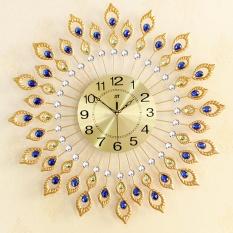 Peacock Diamond Iron Quartz Art Wall DIY Clock Living Bed Room Watch Home Decor - intl