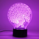 Best Reviews Of Peacock Touch Switch Night Light Gift 3D Led Colourful Change Desk Table Lamp